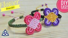 Simple Macrame Flower Bracelet DIY - Macrame New Design - Bracelets Tutorials Tatting Jewelry, Macrame Jewelry, Macrame Bracelets, Macrame Knots, Loom Bracelets, Bracelet Crafts, Flower Bracelet, Chevron Friendship Bracelets, Macrame Bracelet Tutorial