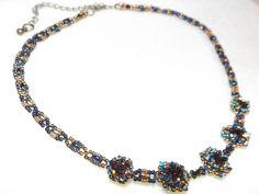 Date Night - Jill Wiseman Pattern - Jewelry creation by Sharon Beaded Jewelry, Beaded Necklace, Jewelry Patterns, Bead Weaving, Jewelry Making, Dating, Jewels, Beads, Night