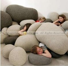 Pebble Pillows... cool for a playroom or room where your family gathers to watch movies or play games!