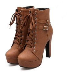 Shoespie Lace up Chunky Heel Ankle Boots ($57) ❤ liked on Polyvore featuring shoes, boots, ankle booties, heels, ankle boots, sapatos, lace up bootie, short heel boots, heeled ankle boots and heeled booties