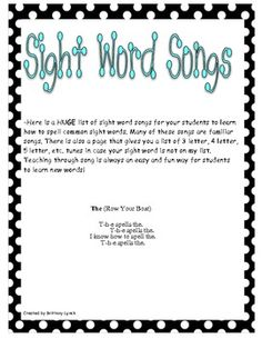 Songs for Sight Words - a HUGE list of songs to teach kids how to spell sight words using familiar tunes!