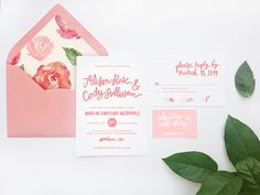 Wedding Invitation Ideas: Spring Garden Wedding Invitations with brush lettering and floral patterns by HelloDesignSugar via Oh So Beautiful Paper