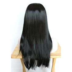 SALE long black wig. straight black wig. black scene emo wig with... ($74) ❤ liked on Polyvore featuring beauty products, haircare and hair styling tools