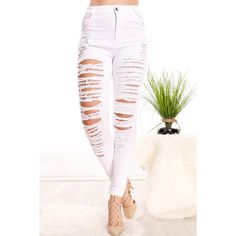 White Ripped Pocket Accent Skinny Jeans ($21) ❤ liked on Polyvore featuring jeans, white, skinny jeans, destructed jeans, white destroyed skinny jeans, destroyed skinny jeans and distressed jeans