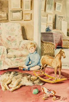"""Painting by Grand Duchess Olga Alexandrovna Romanova of Russia of one of her sons. """"AL"""""""