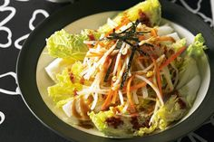Crunchy vegetable salads help cleanse the palate during a Japanese meal. This one has authentic flavours of sesame and rice wine vinegar. Healthy Salad Recipes, Diet Recipes, Diabetes Recipes, Recipies, Sesame Dressing Recipe, Carb Cycling Diet, Japanese Diet, Clean Eating, Healthy Eating