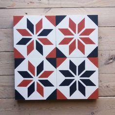 Diverse Kombinationen aus Schwarz, Rot und Weiß Cement Tiles, Bespoke, Design, Stars, Colors, Taylormade