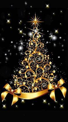 Christmas Tree Design, Christmas Tree Gif, Merry Christmas Wallpaper, Unique Christmas Trees, Holiday Wallpaper, Christmas Scenes, Christmas Snowflakes, Christmas Background, Gold Christmas