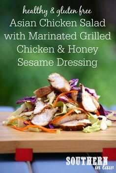 Asian Style Chicken Salad with Honey Sesame Dressing and a delicious Healthy Chicken Marinade Recipe - perfect for barbeques, picnics. dinner parties, lunchboxes or lunch or dinner at home! Low fat, g (Lighter Sesame Chicken) Marinated Grilled Chicken, Chicken Marinade Recipes, Chicken Marinades, Gf Recipes, Clean Eating Recipes, Healthy Eating, Cooking Recipes, Healthy Recipes, Asian Chicken Salads