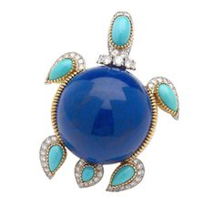 Cartier ~A Turquoise, Diamond  and Lapis Lazuli Turtle Brooch