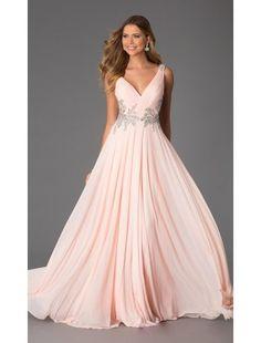A Line Sweetheart Chiffon Beading Floor Length Prom Dress