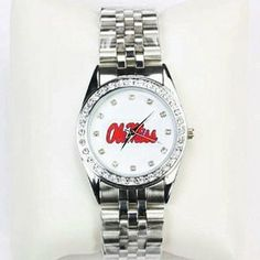 Mississippi Rebels Women's Boyfriend Watch by Season's Jewelry. $29.99. The Mississippi Ole Miss Rebels Boyfriend Analog Watch by Seasons Jewelry is battery operated with hour, minute and sweep second hands. The face of the Mississippi Ole Miss Rebels Boyfriend Watch has a 1.25 inch diameter and is circled by sparkling rhinestones. The watch case and easy-to-adjust wrist band are silvery metallic. The game day watch has a stainless steel back and a quartz move...