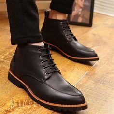 2015 nuevo otoño Toe Pionted corto zapatos hombres botines con cordones de Martin botas Top del alto de cuero genuino botas de vestir de negocios para hombres(China (Mainland))