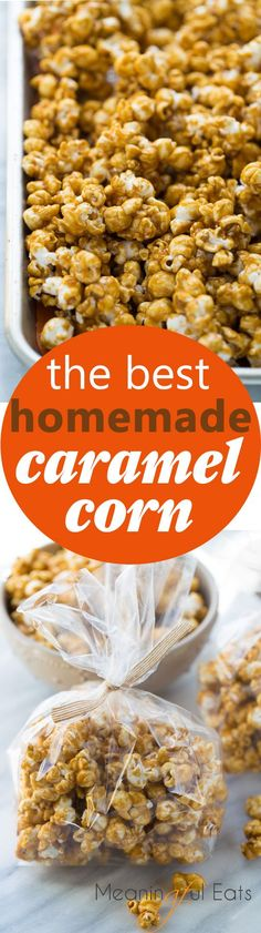 The Best Homemade Caramel Corn! Crispy caramel corn with the perfect mix of sweet and salty. A naturally gluten-free Halloween treat! #halloween #fall #gftreats #glutenfree #caramelcorn #meaningfuleats