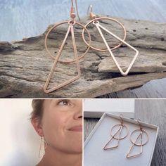 Boucles d'oreilles géométriques rose gold Bracelets, Hoop Earrings, Boutique, Rose, Jewelry, Fashion, Jewelry Designer, Ears, Boucle D'oreille