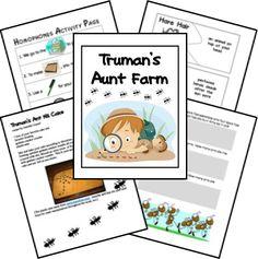Free Ant Lapbook& Truman's Aunt Farm printables