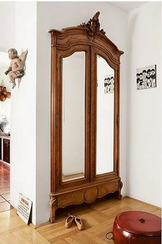 Home Interior Livingroom Closet doors transformed using armoire front.Home Interior Livingroom Closet doors transformed using armoire front. Built In Furniture, Repurposed Furniture, Antique Furniture, Antique Armoire, Bedroom Furniture, Wooden Furniture, French Armoire, Nice Furniture, Cheap Furniture