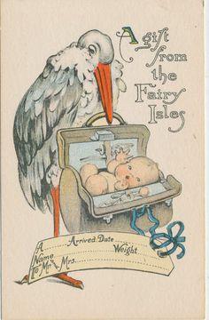 #7649 1910 POSTCARD STORK BABY BIRTH ANNOUNCEMENT FAIRY ISLES