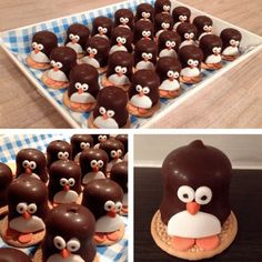 Easy marshmallow penguins - cute Christmas food idea for kids - they make great party food treats - Eats Amazing UK Cute Snacks, Party Snacks, Cute Food, Awesome Food, Holiday Treats, Christmas Treats, Holiday Recipes, Yummy Treats, Yummy Food