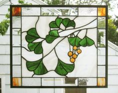 """Ginkgo Leaves with Berries-Olive --13.75"""" x 16""""--Stained Glass Window Panel"""