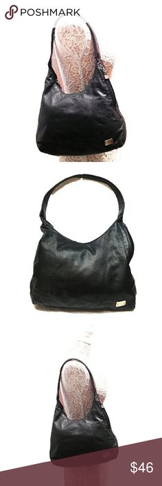 """PERLINA SOFT LEATHER SIDE ZIP CMPMT SHOULDER BAG PERLINA SHOULDER BAG WITH SIDE ZIPPERS FOR EXTRA STORAGE Pre-loved  Approx Meas"""" L   11""""-14"""" H   13"""" Drop   12""""  Very Soft Black Leather with One Side Zippered Compartment with Faux Silver Tone Hardware, Large Zip Compartment  Closure with Worn Look Leather Interior & One Side Zipper Cmpmt   Meas R Approx and Can be Interpreted Differently on How U Meas  Colors May Not be Exact due to Lighting or UR Screen Perlina Bags Shoulder Bags"""