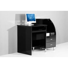 Mars Compact Black High Gloss Computer Desk
