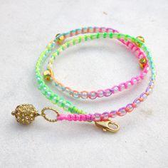 Rainbow wrap bracelet neon friendship bracelet colorful gold beads stack jewelry double wrap bracelet. $25.00, via Etsy.