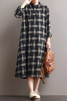 Linen plaid casual loose shirt dress winter long shirt for women timeless black and white outfits Look Fashion, Hijab Fashion, Fashion Dresses, Trendy Fashion, Casual Winter Outfits, Casual Dresses, Hijab Stile, Herren Outfit, Loose Shirts