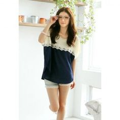 $7.10 Lace Splicing Bat-Wing Sleeves Scoop Neck Color Matching Sweet Style Chiffon T-Shirt For Women