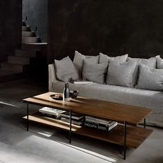 This beautiful Rise walnut coffee table by Ethnicraft is also availlable in oak - currently OFF on everything by this brand Minimalist Architecture, Minimalist Design, Solid Wood Furniture, Furniture Design, Solid Wood Table Tops, Walnut Coffee Table, Extendable Dining Table, Residential Architecture, Interior Decorating