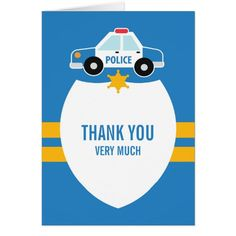 """Just had a birthday party for your kid and want to send """"Thank You"""" Cards? Then this Cute Police Card is the one! And it's totally customizable!"""