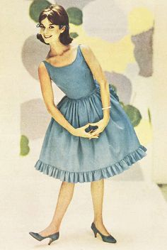 1960s blue ruffle party dress | The Australia Women's Weekly, 4 Oct 1961