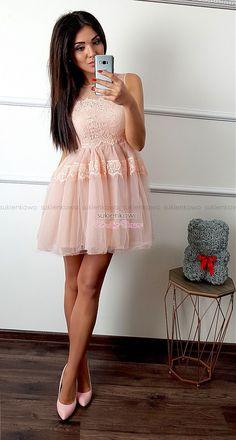510569ae89 Sukienkowo.com - MELISA - Tiulowa sukienka z koronką różowa