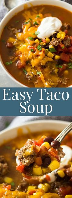 This Easy Taco Soup is packed with flavor, takes less than 30 minutes to make an. - Easy and Healthy Soup Recipes - Soup Recipes Slow Cooker Soup, Slow Cooker Recipes, Crockpot Recipes, Cooking Recipes, Healthy Recipes, Easy Healthy Soup Recipes, Cooking Tips, Slow Cooker Tacos, Crockpot Dishes