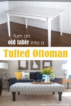 DIY Tufted Fabric Ottoman ((...from An Old Table