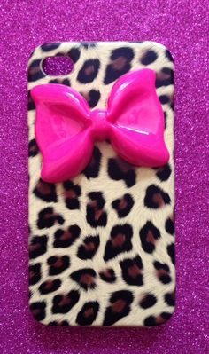 Hot Pink Lolita Bow Leopard Print iPhone 4 & 4S by DiamanteDoll, £8.99