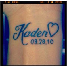 i want something similar to this for Aiden. Except over my heart, different font, and a different style heart.