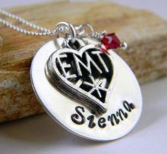 Personalized EMT Necklace Handstamped Necklace EMT by RosesDesigns, $35.00