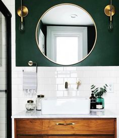 white and green bathroom with round mirror - Badezimmer Deko Ideen Diy Bathroom, Bathroom Renos, Bathroom Interior, Bathroom Small, Bathroom Green, Dark Green Bathrooms, Bathroom Vanities, Bathroom Accent Wall, Colorful Bathroom