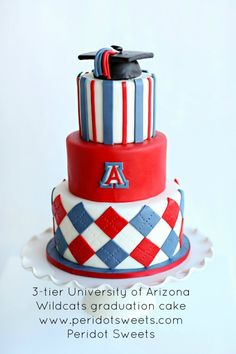 3-tier University of Arizona Wildcats graduation cake www.peridotsweets.com @peridotsweets
