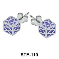 Enamel Cube Silver Stud Earrings. #earpiercing #jewelrypiercing #bodypiercing #piercing