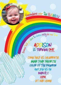 Personalized Rainbow Birthday invitations  Over the Rainbow