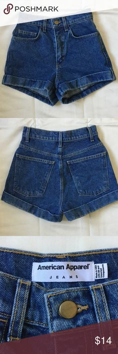American Apparel high waisted jean shorts. Perfect condition never worn high waisted jean shorts. Dark blue wash with cuff. American Apparel Shorts Jean Shorts
