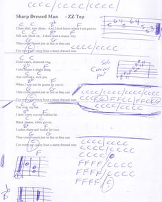 Sharp Dressed Man (ZZ TOP) Guitar Chord Chart