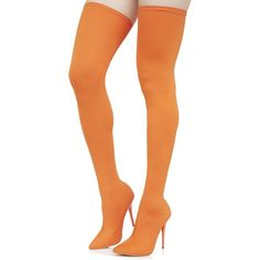 Orange Stretch Thigh High Boots ($58) ❤ liked on Polyvore featuring shoes, boots, above knee boots, slipon boots, orange boots, over knee stretch boots and thigh-high boots