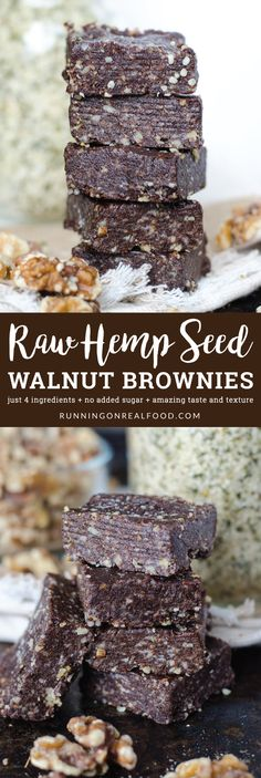 These raw hemp seed brownies require just 4 healthy ingredients to make: dates, hemp seeds, walnuts and cacao. Amazing texture and chocolate flavour. Vegan, gluten-free, grain-free, no added sugar, no-bake.