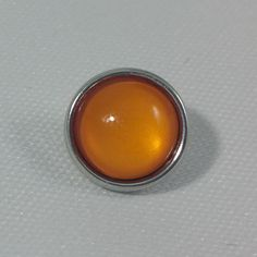 1 PC - 12MM Orange Glass Dome Silver Charm for Candy Snap Jewelry Limited Edition CC0011