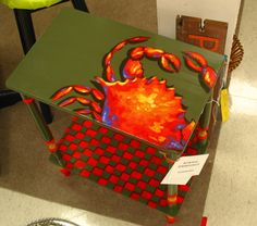 Tropical decor, crab table, checkered board, available for sale today at Treasure Trove, Hudson, Fl.