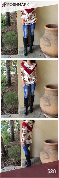 Floral tunic Color block floral relax fit top PLEASE Use the Poshmark new option you can purchase and it will give you the option to pick the size you want ( all sizes are available) BUNDLE and save 10% ( no trades price is firm unless bundled) Tops