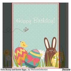 Cute Bunny and Easter Eggs Happy Birthday Card - Buscar con Google